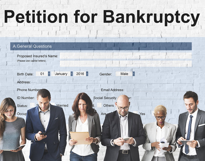 People Waiting Under Bankruptcy Notice