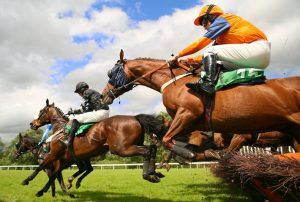 Horses Jumping Fence
