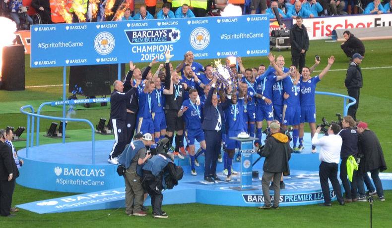 Leicester City Celebrating Premier League Win
