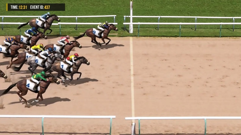 Virtual horse racing crossing the finish line