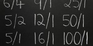Betting odds on a chalkboard