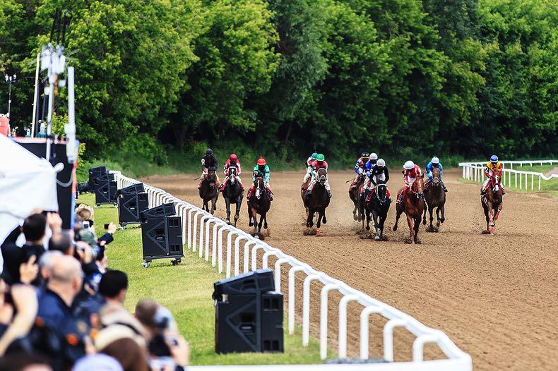 Horse racing finish line