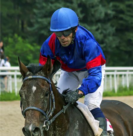 Horse jockey up close