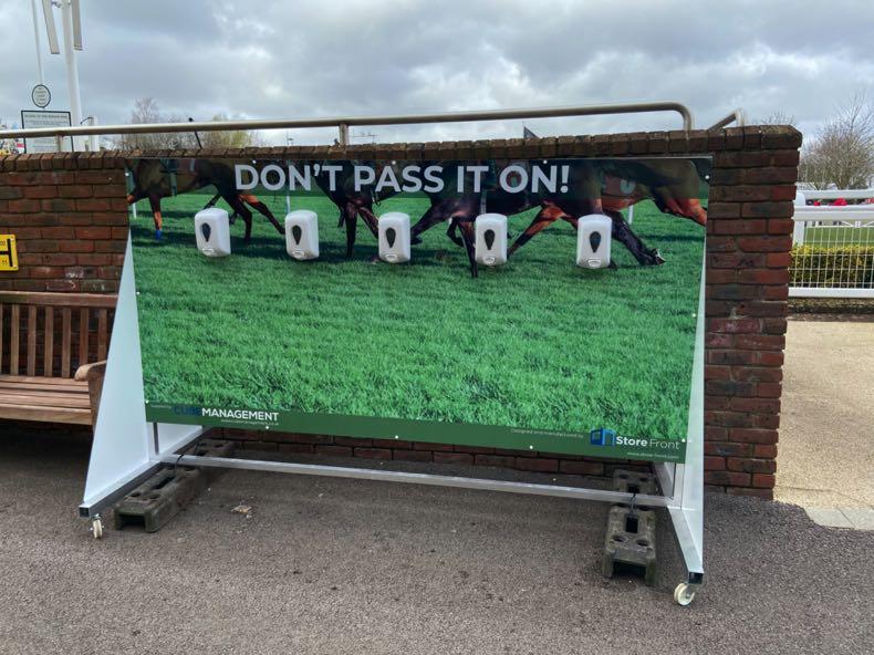 Hand sanitiser stations at the 2020 Cheltenham Festival