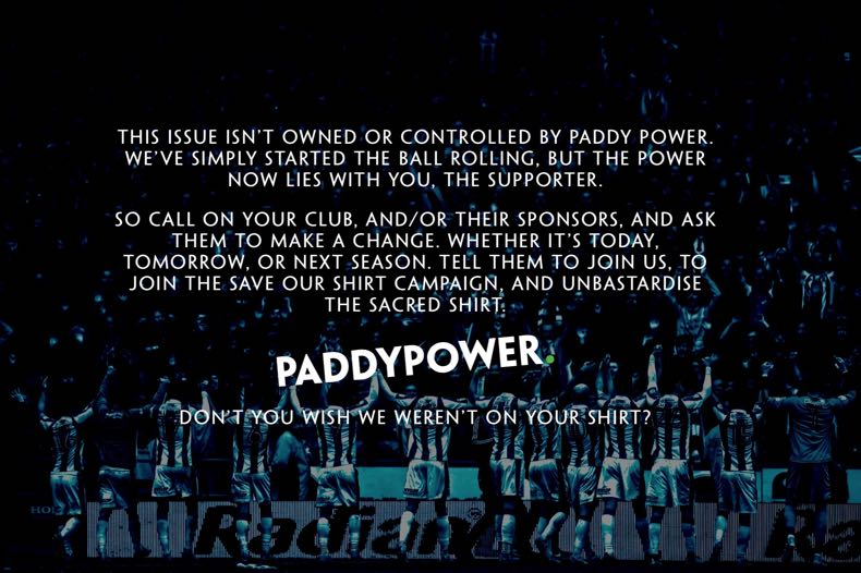 Paddy Power's Save Our Shirt Campaign