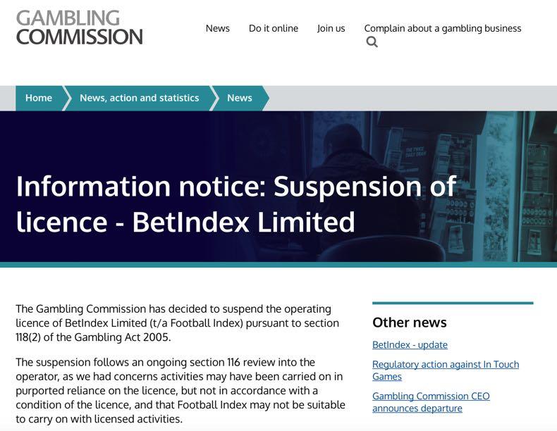 UKGC Football Index Note of Suspension