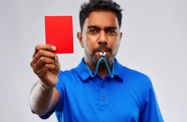 Red card in football