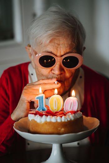 100 year old woman celebrating birthday