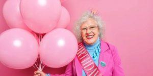 Old woman celebrating birthday