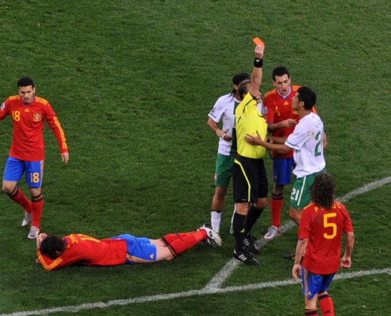 Red card after foul